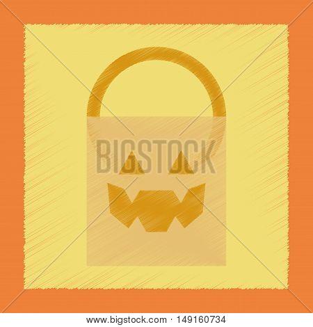 flat shading style icon of halloween bag