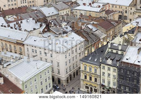 Looking from the Powder Tower at red roofs of Old Town near Powder Tower Prague
