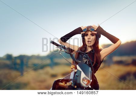 Surprised Steampunk Woman Next to Her Motorcycle