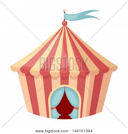 Circus tent icon in cartoon style isolated on white background. Circus symbol vector illustration.