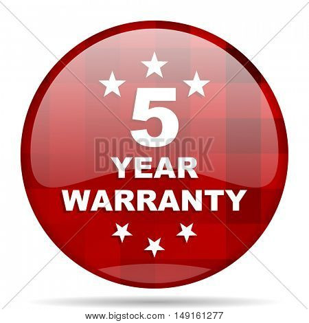 warranty guarantee 5 year red round glossy modern design web icon