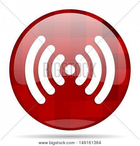 wifi red round glossy modern design web icon