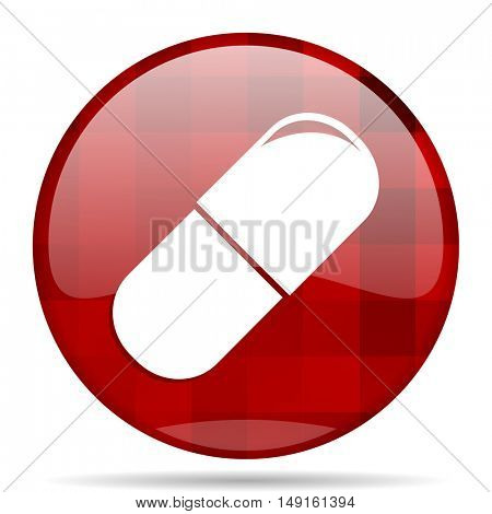 drugs red round glossy modern design web icon