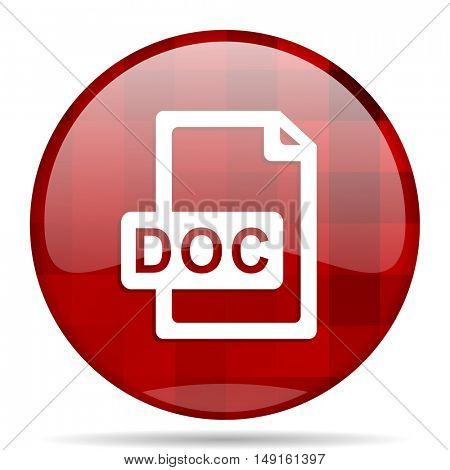 doc file red round glossy modern design web icon