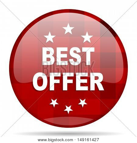 best offer red round glossy modern design web icon