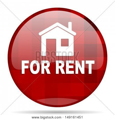 for rent red round glossy modern design web icon