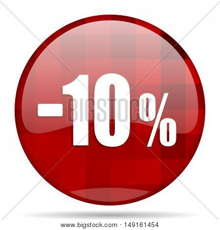 10 percent sale retail red round glossy modern design web icon