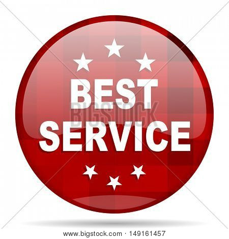 best service red round glossy modern design web icon