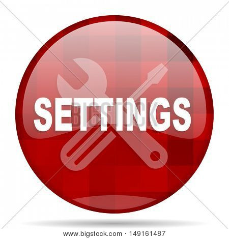 settings red round glossy modern design web icon