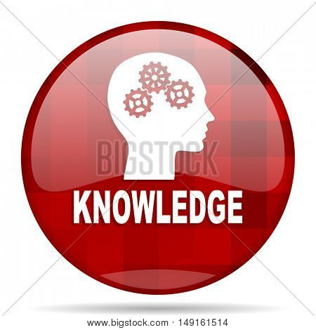 knowledge red round glossy modern design web icon
