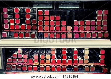 Cosmetics on shelves in supermarket