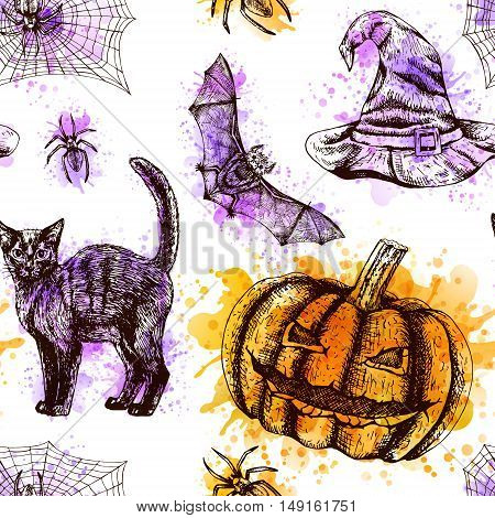 Hand drawn seamless pattern with watercolor. Sketches of bat spider web witch hat black cat broom and pumpkin. Doodle line graphic design. Vector orange purple black and white background.