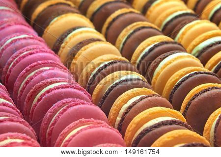 Close up image of colourful sweet macarons