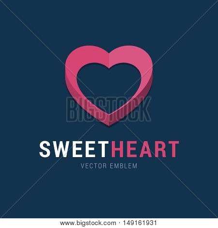 Sweet Heart emblem with 3d effect. Pink heart logo in flat simple style. Vector illustration for social network, medical clinic and others.