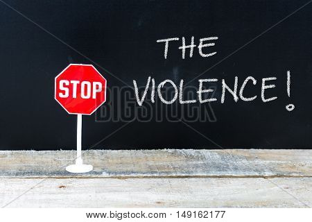 Stop The Violence Message Written On Chalkboard