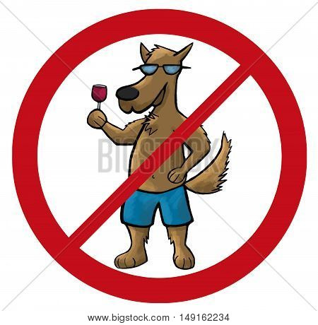 dog no sign cartoon vector illustration pets