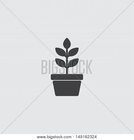 Flower in pot icon in a flat design in black color. Vector illustration eps10