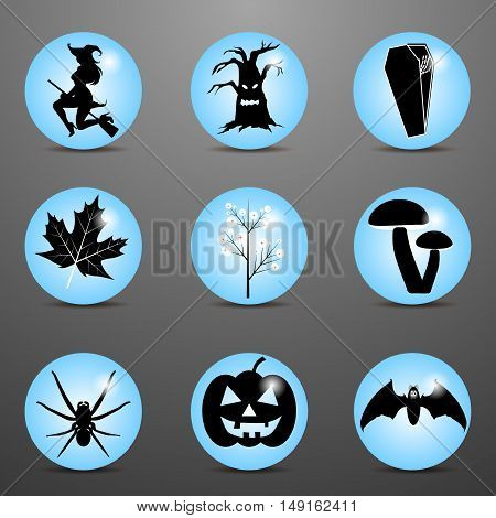 Autumn stylish icons Halloween for the web site