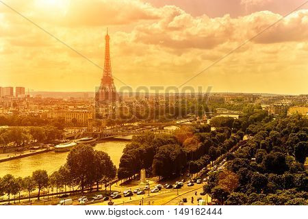 Eiffel tower in Paris Europe. Tourism and traveling sights