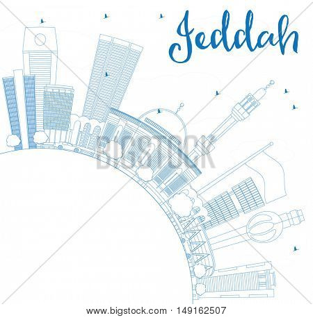 Outline Jeddah Skyline with Blue Buildings and Copy Space. Vector Illustration. Business Travel and Tourism Concept with Modern Buildings. Image for Presentation Banner Placard and Web Site.