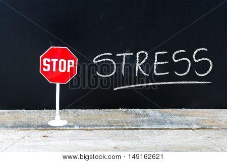 Stop Stress Message Written On Chalkboard