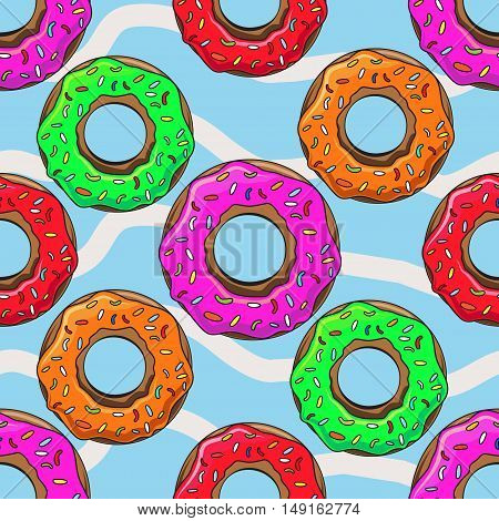 Cute Donuts with colorful glazing. Seamless pattern illustration