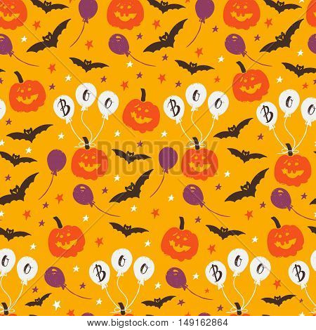 Vector Halloween seamless pattern with pumpkin ballon stars bat. Hand drawn pattern for Halloween design. Perfect for decoration wrapping papers greeting cards web page background