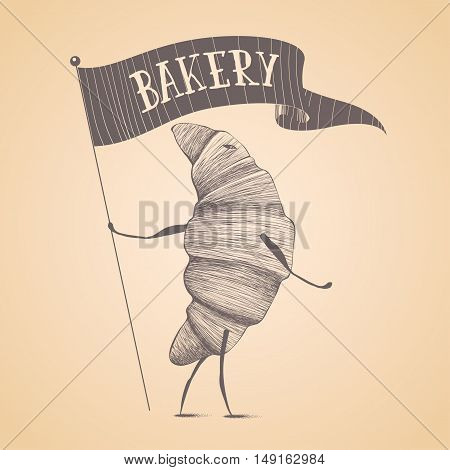 Bakery shop pastry vector logo sign icon symbol emblem insignia. Cute isolated hand drawn graphic template design element illustration with croissant funny childish character