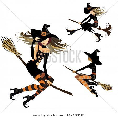witch on broom, flight witch, cheerful witch, image of halloween
