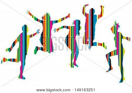 Striped silhouettes of people jumping over white background