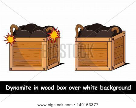 Dynamite in wood box over white background vector illustration
