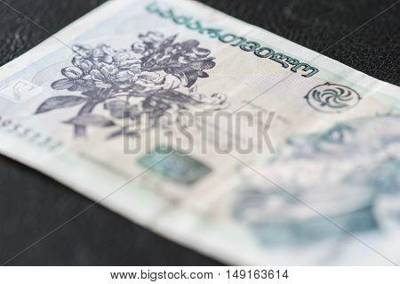 Georgian Banknote Of Ten Lari Close Up