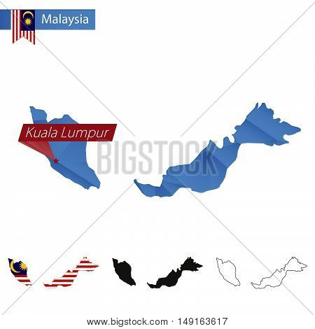 Malaysia Blue Low Poly Map With Capital Kuala Lumpur.