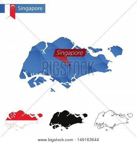 Singapore Blue Low Poly Map With Capital.