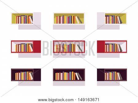 Set of retro rectangle bookshelves isolated against white background. Cartoon vector flat-style illustration