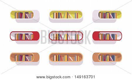 Set of retro oval bookshelves isolated against white background. Cartoon vector flat-style illustration