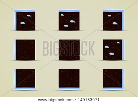 Set of nine sprites with snow for creating video game