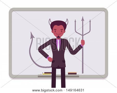 Man against the whiteboard with drawn devil. Cartoon vector flat-style concept illustration
