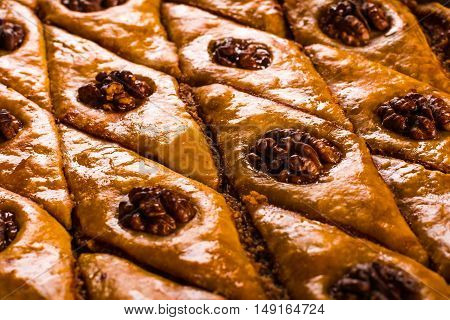 Baklava. Traditional east sweet with walnuts. Close up