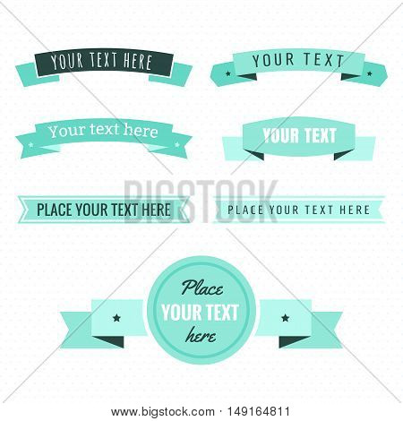 Light and dark green and turquoise color ribbons vintage vector set