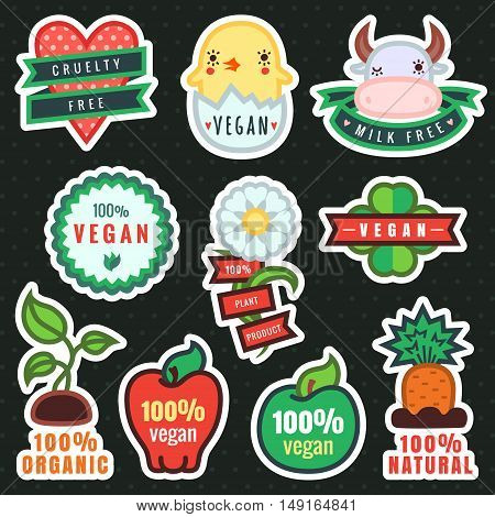 Multicolor vegan plant and organic products cartoon stickers in vector