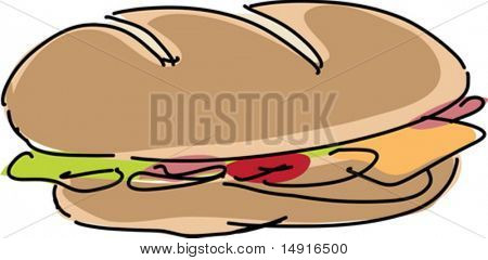 Fresh sandwich illustration, hand-drawn lineart sketch look