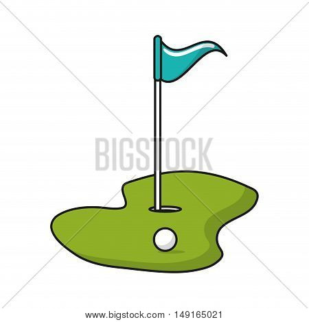 Ball hole and flag icon. Golf sport competition and hobby theme. Isolated design. Vector illustration