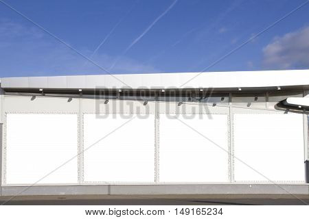 Mock up. Outdoor advertising, blank billboards on the shop or supermarket wall outdoors