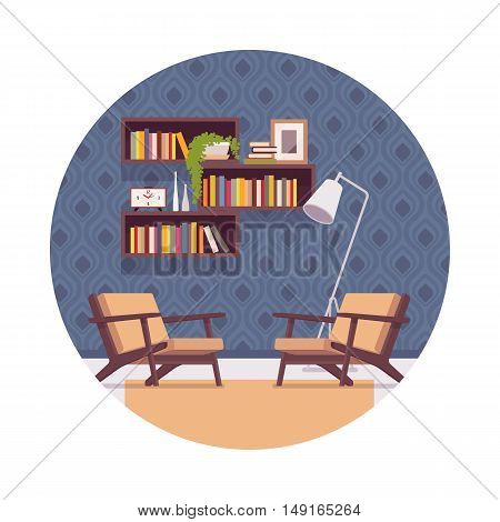 Retro interior with bookshelves, chairs, lamp in a circle. Cartoon vector flat-style illustration