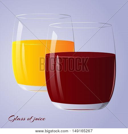 Two glasses of fresh juice for health isolated on blue background. Vector illustration.