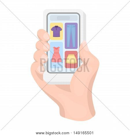 Mobile shopping online icon in cartoon style isolated on white background. E-commerce symbol vector illustration.