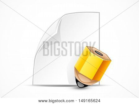 White paper and yellow pencil on white background