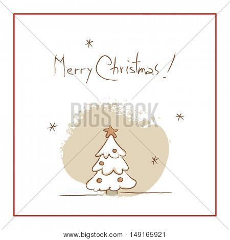 Christmas tree, Merry Christmas greeting card. Sketchy doodle style hand drawn seasonal vector illustration.
