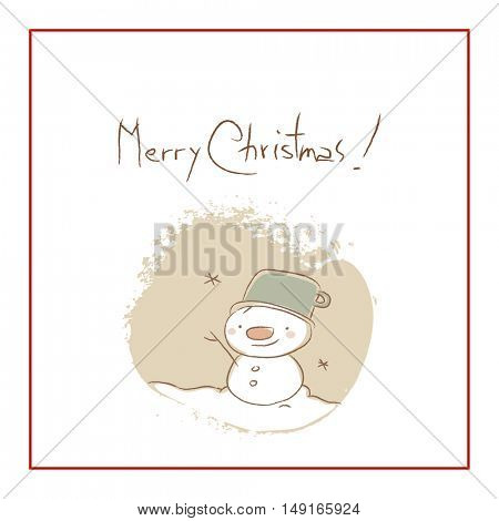 Christmas snowman, Merry Christmas greeting card. Sketchy doodle style hand drawn seasonal vector illustration.